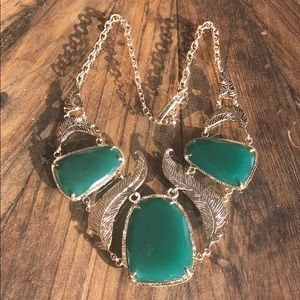 Green and Gold Kendra Scott Leaf Necklace